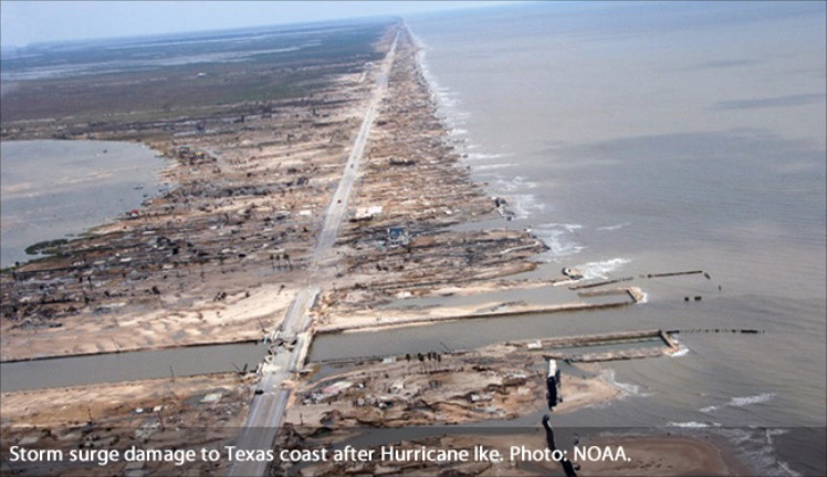 Storm surge damage to Texas coast after Hurricane Ike. Photo: NOAA