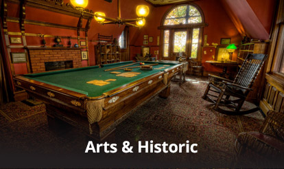 old world pool table and game room