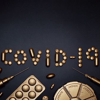 Gold Lettering Spelling COVID-19