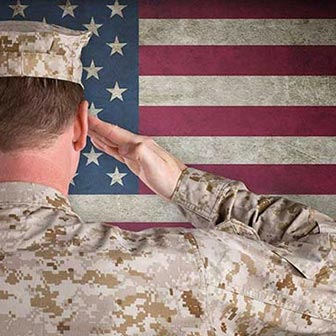 Military solder saluting the US flag