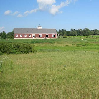 A field with a barn