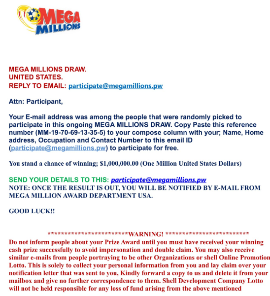 SCAM ALERT CLC AND DCP WARN CONSUMERS ABOUT MEGA MILLIONS