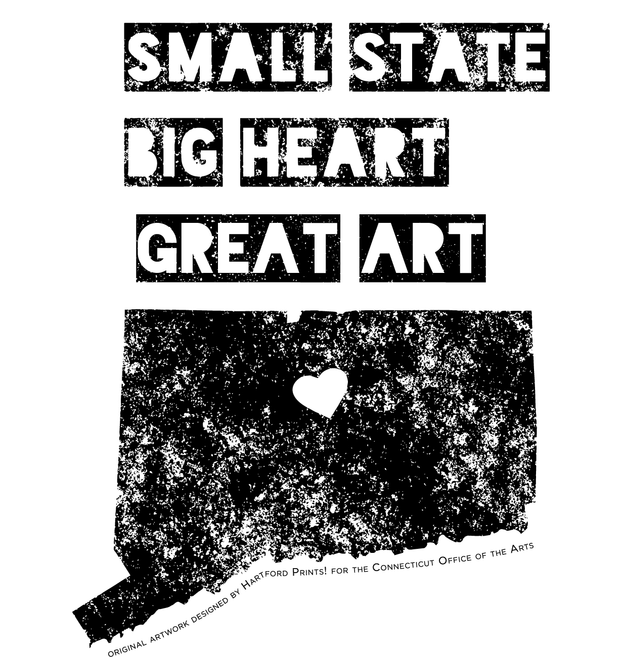 A black and white original print by Hartford Prints!  Small State, Big Heart, Great Art