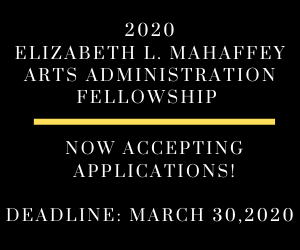 Black and gold graphic to promote Fellowship for arts administrators