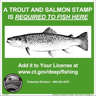 trout and salmon stamp required to fish sign