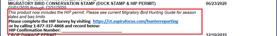 Image of what appears on a hunting license if HIP permit is purchased through a third-party vendor.