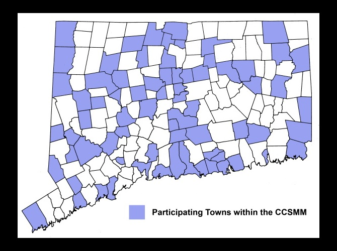 Connecticut Map of Towns highlighting towns within CCSMM