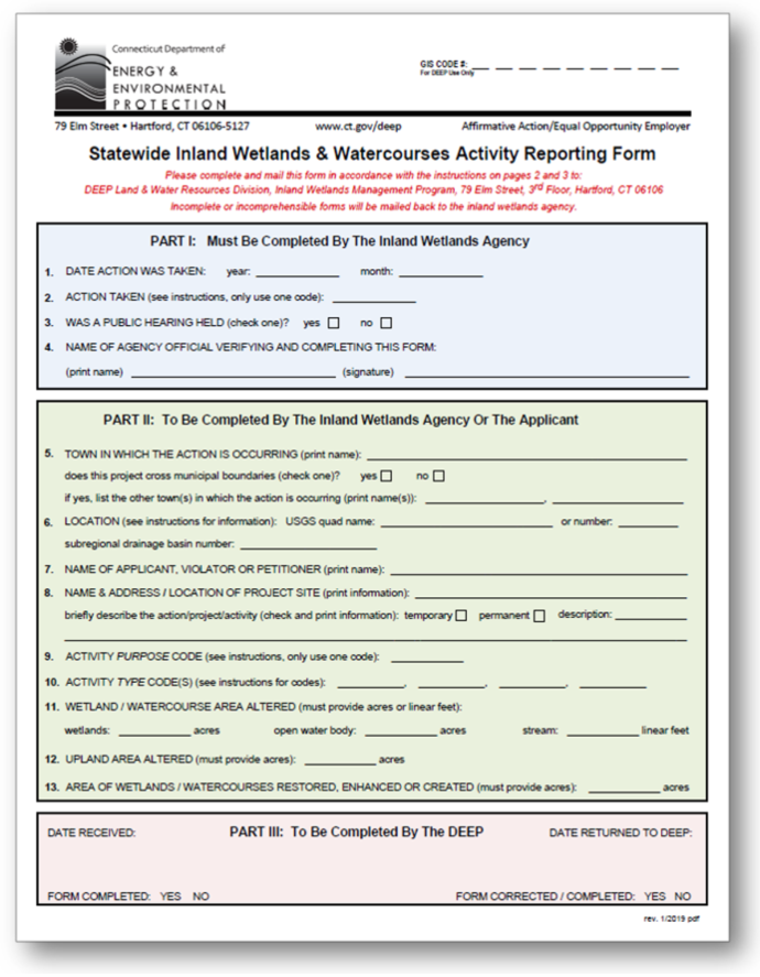 Inland Wetlands & Watercourses Agency Reporting Form