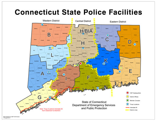 Connecticut State Police Troops and Districts