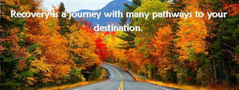 "Picture of a tree lined road in autumn with the text ""Recovery is a journey with many pathways to your destination."