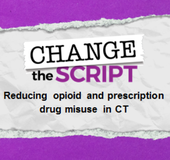 "Change the Script logo with the words ""Reducing opioid and prescription drug misuse in CT"""