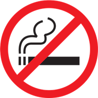 No smoking sign with black smoking cigarette and red circle with a strike through it