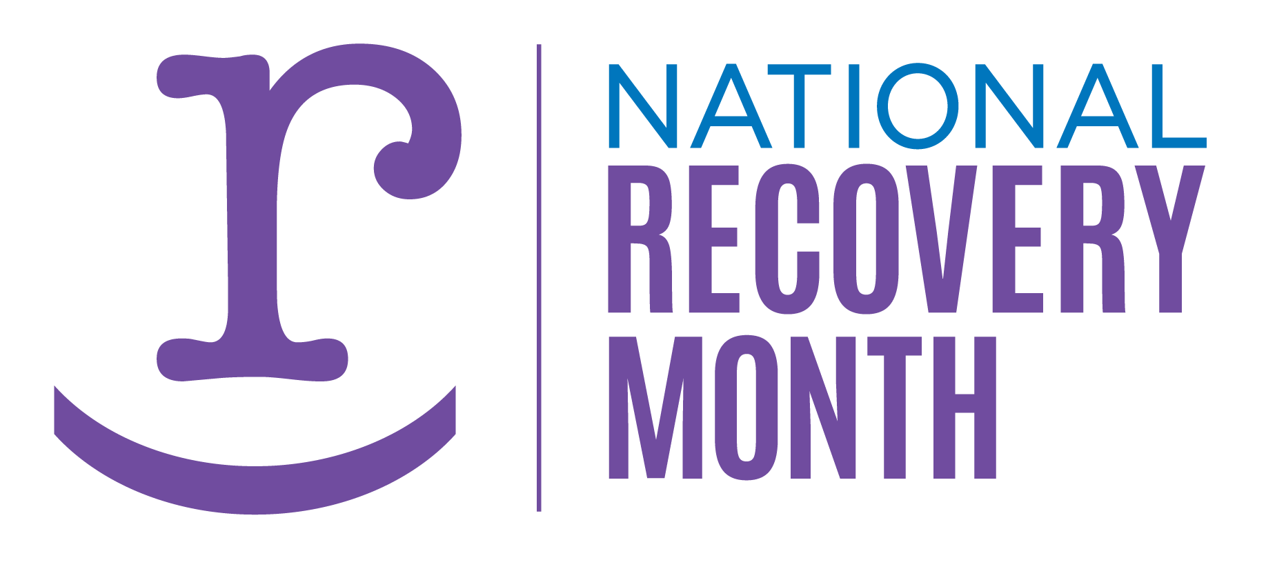"A lower case letter ""r"" in purple, followed by the text ""National Recovery Month"""