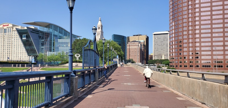 Hartford Riverfront with Bicyclist