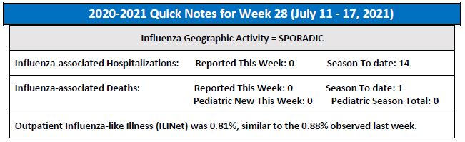 A snapshot of this week's flu activity in Connecticut.