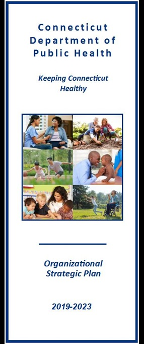 This is the cover image of the CT DPH strategic plan brochure in English.