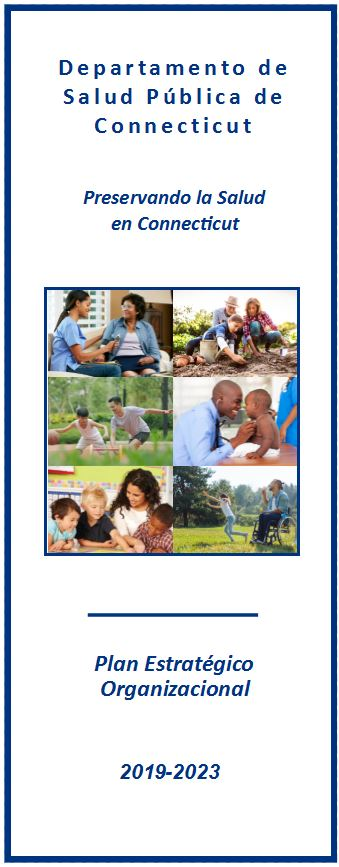 This is the cover image of the CT DPH strategic plan brochure in Spanish.