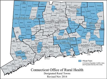 Connecticut designated rural towns by CT ORH