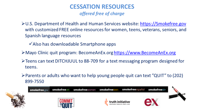 Cessation resources offered free of charge