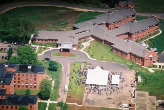 Aerial of Ceremony at the Connecticut Veterans Health Center
