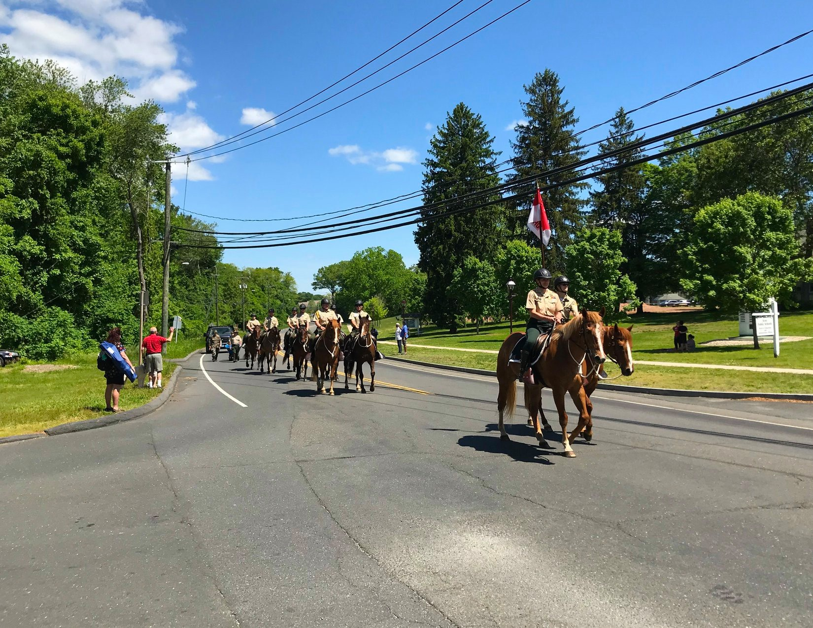 Image is of troopers riding horses in a parade.