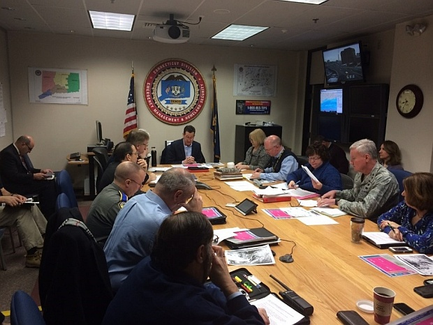 Governor Malloy and state emergency management officials hold a unified command meeting at the State Emergency Opera-tions Center in Hartford to prepare for an impending winter storm. (January 26, 2015)