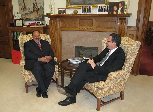 Martin Luther King III, son of minister and civil rights activist Dr. Martin Luther King Jr., meets with Governor Malloy in his office at the State Capitol in Hartford to discuss pending legislation the governor introduced to preserve voting rights and expand access to voter registration in Connecticut. (April 23, 2012)