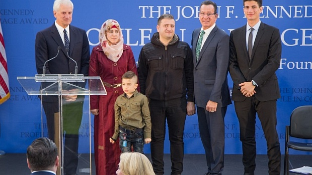 The John F. Kennedy Library Foundation presented Governor Malloy with the 2016 John F. Kennedy Profile in Courage Award for his stand on Syrian refugee resettlement.