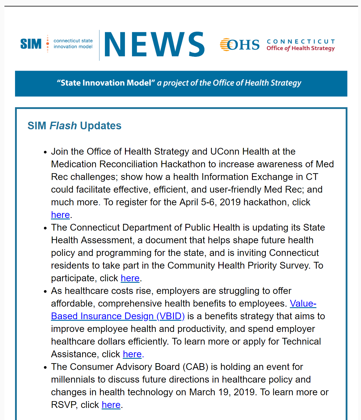 Image of March 2019 SIM Newsletter document