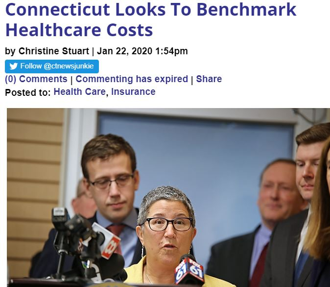 CT News Junkie article CT Looks to Benchmark Healthcare Costs
