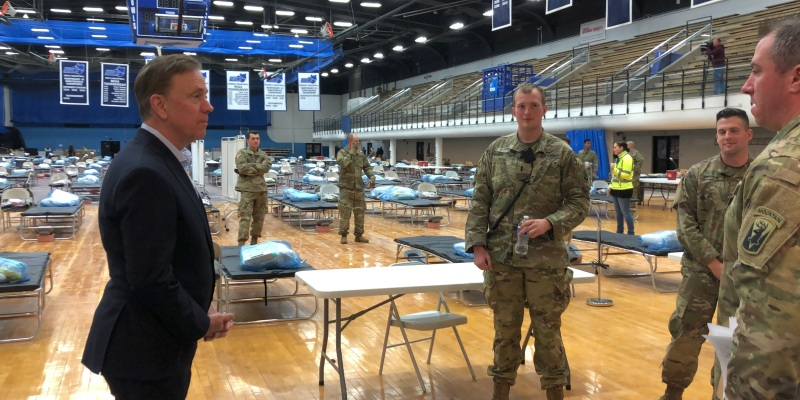 Governor Lamont touring mobile field hospital at Southern Connecticut State University
