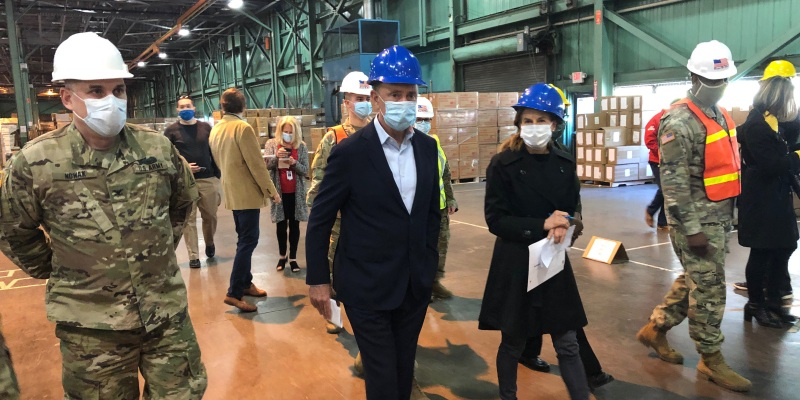 Governor Lamont touring the state commodities warehouse