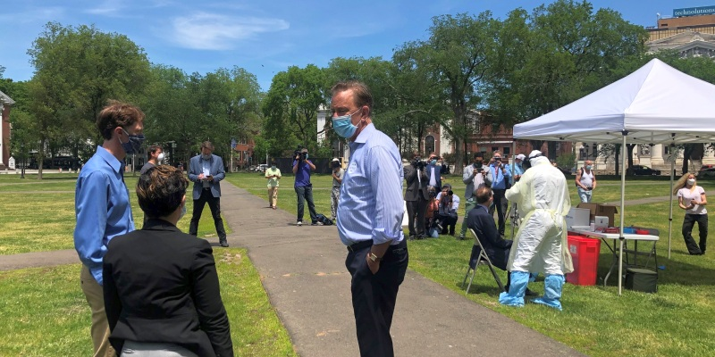 Governor Lamont on the New Haven Green
