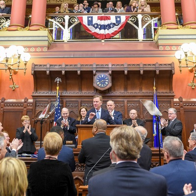 Governor Lamont speaking in the House of Representatives