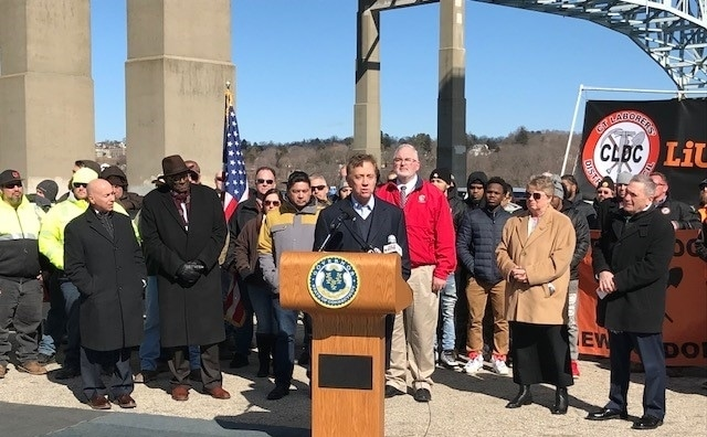 Governor Lamont at the Gold Star Memorial Bridge