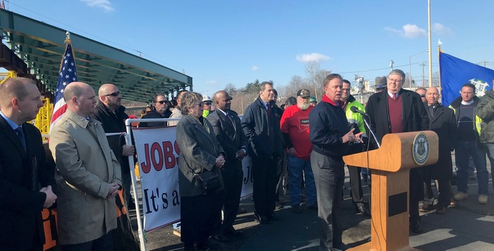 Governor Lamont speaking at I95 construction project in Stamford