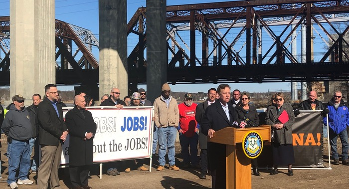 Governor Lamont at the Devon Bridge in Milford