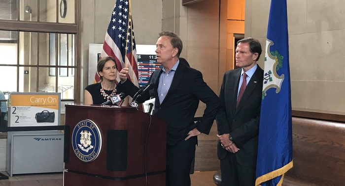 Governor Lamont, Lt. Governor Bysiewicz, and Senator Blumenthal at Union Station in New Haven