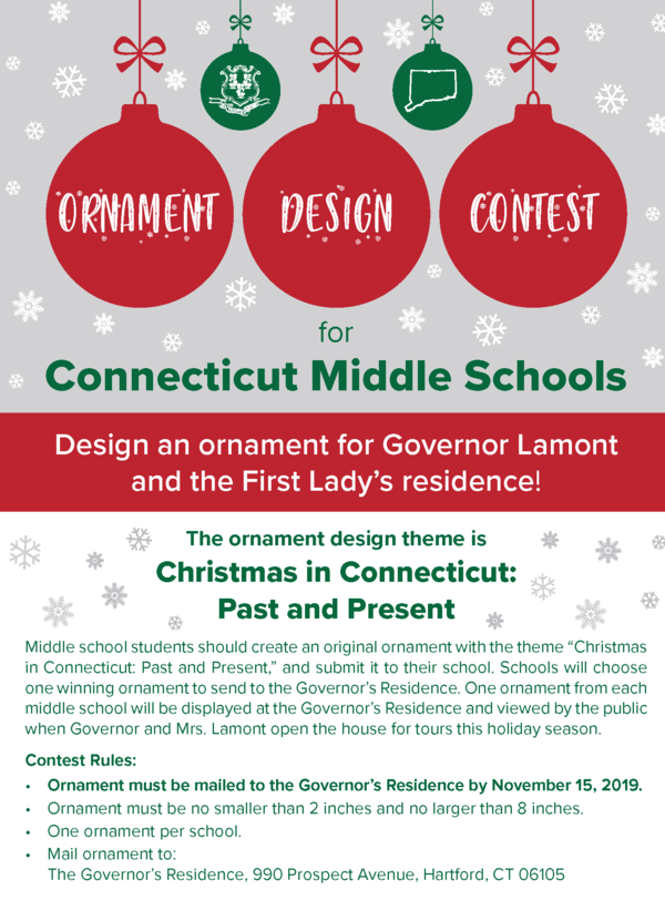 Governors Christmas Ct 2020 Governor and Mrs. Lamont Invite Middle School Students to Create