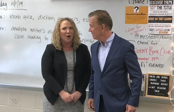 Governor Ned Lamont makes a surprise visit to Meghan Hatch-Geary's classroom at Woodland Regional High School to announce that she is Connecticut's 2020 Teacher of the Year.