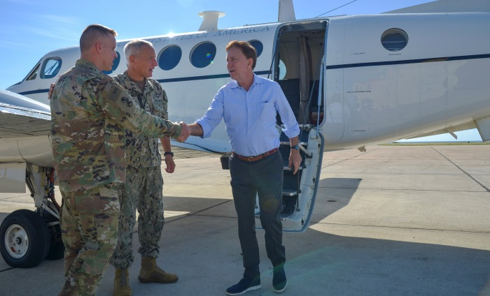 GUANTANAMO BAY, Cuba (Dec. 27, 2019) Governor Ned Lamont arrives at Naval Station Guantanamo Bay (NSGB), Cuba, to visit service members. NSGB is the forward, ready, and irreplaceable sea power platform in the Caribbean, and has supported the Navy's most advanced ships for more than a century. (Credit: U.S. Navy photo by Mass Communication Specialist 2nd Class Kevin J. Steinberg/RELEASED)
