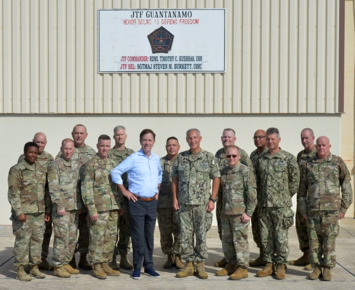 GUANTANAMO BAY, Cuba (Dec. 27, 2019) Governor Ned Lamont and Maj. Gen. Francis Evon, Jr., adjutant general of the Connecticut National Guard, meet with service members at Naval Station Guantanamo Bay (NSGB), Cuba. NSGB is the forward, ready, and irreplaceable sea power platform in the Caribbean, and has supported the Navy's most advanced ships for more than a century. (Credit: U.S. Navy photo by Mass Communication Specialist 2nd Class Kevin J. Steinberg/RELEASED)