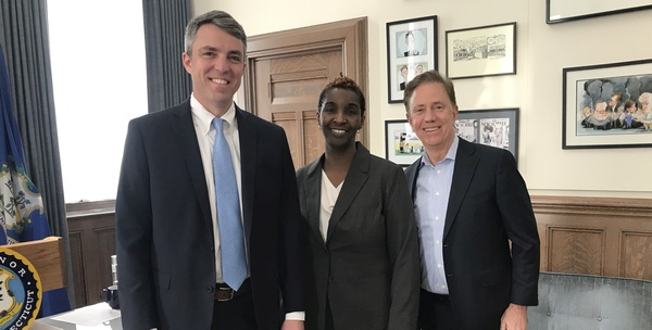 Commissioner Geballe, Andrea Barton Reeves, and Governor Lamont