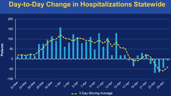 Day-to-Day Change in Hospitalizations Statewide