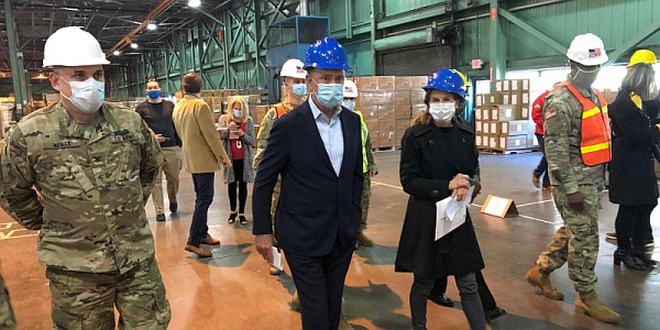 Governor Lamont touring the state's commodities warehouse
