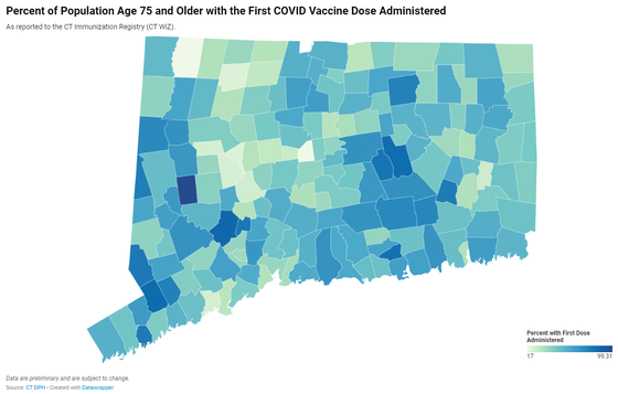 Map of Connecticut COVID-19 vaccine distribution