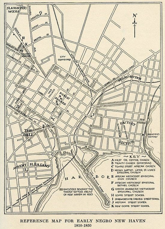Map of the African American population of New Haven, 1810-1850
