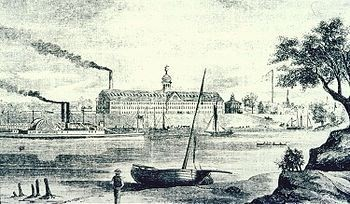 Colt's Armory, 1857, looking west across the Connecticut River