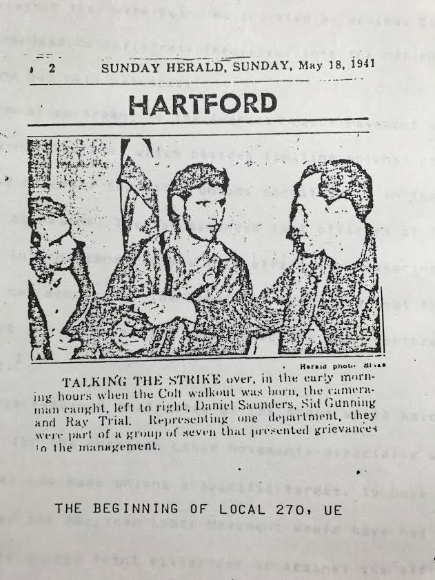 Newspaper photo of three Colt workers on strike from 1941