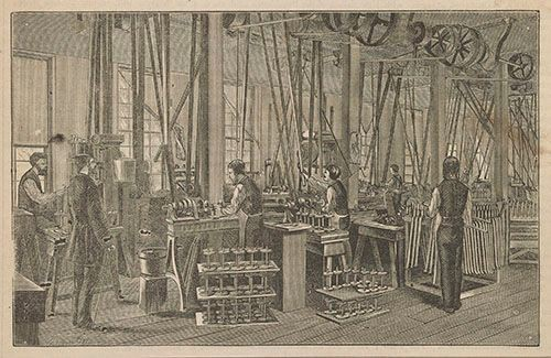Machining rear hubs for Pope's Columbia brand bicycles, inside the Weed Sewing Machine Factory, 1881.